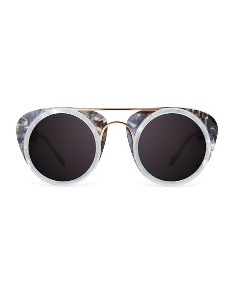 Soda Pop Round Sunglasses, Black/White