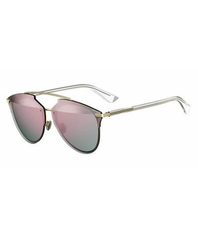 Reflected Prism Aviator Sunglasses, Pink