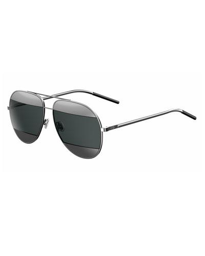 DiorSplit Two-Tone Metallic Aviator Sunglasses, Gray/Blue