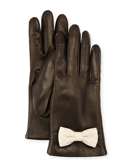 Leather Bow-Cuff Gloves, Black/White