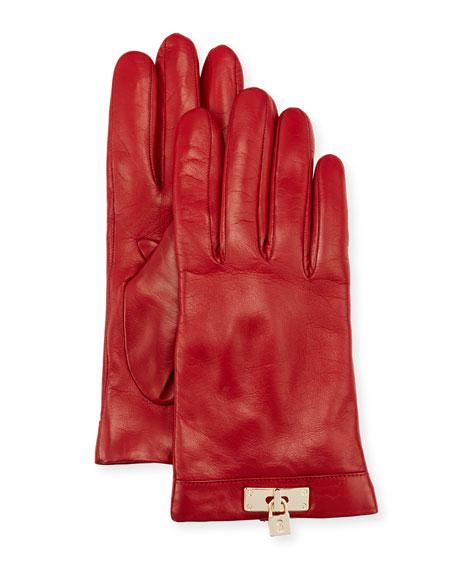 Portolano Leather Lock-Cuff Gloves, Red