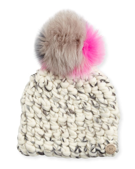 Mischa Lampert Wool Pomster Beanie, Gray/Multicolor
