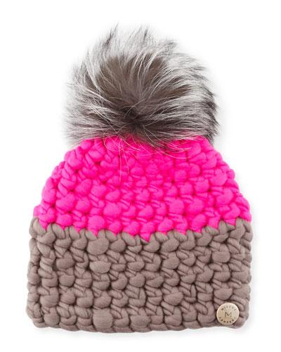 Two-Tone Wool Fox-Trim Beanie Hat, Magenta/Gray