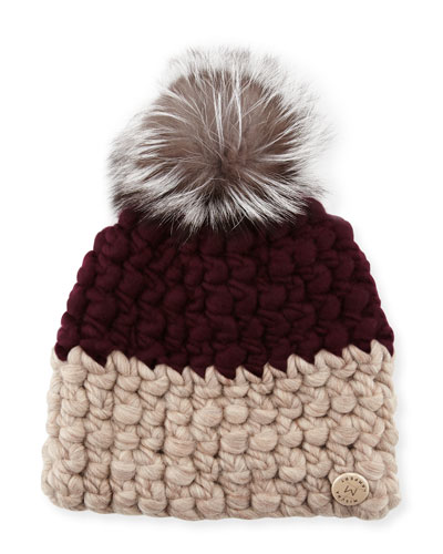Two-Tone Wool Fox-Trim Beanie Hat, Aubergine/Taupe