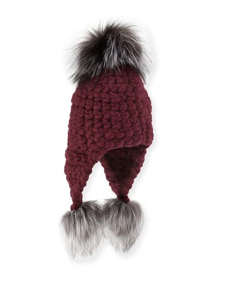 Mischa Lampert Wool Trapper Hat w  Fur Pompoms 501077ba6f58
