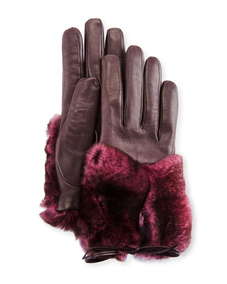 Imoni Leather & Rabbit Fur Gloves, Galaxy/Pink