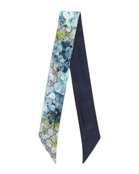 GG Blooms Skinny Silk Scarf, Blue