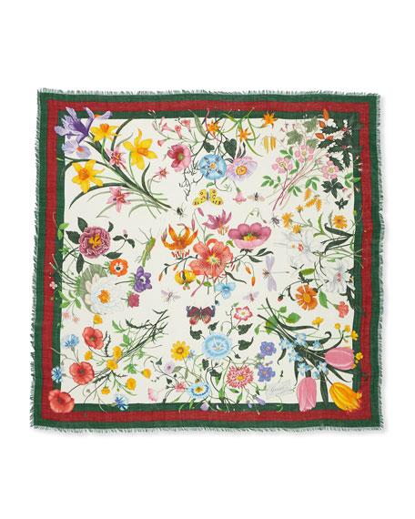 Flora Web Wool & Silk Shawl, Ivory/Green