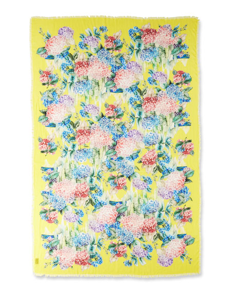 GUCCI FLORAL-PRINT CASHMERE/SILK STOLE, YELLOW/PINK