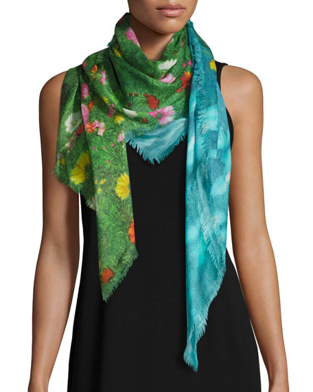 Garden Flower Silk-Blend Shawl, Blue/Green