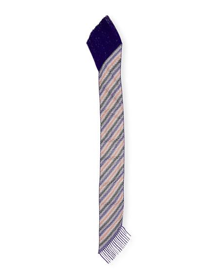 Asymmetric Zigzag Illusion Fringe Scarf, Purple/Multicolor