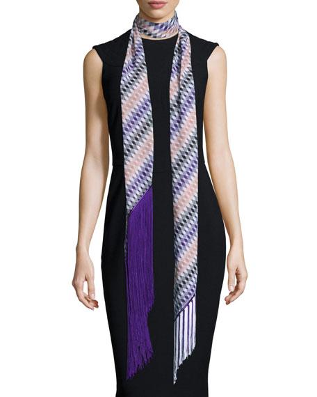 Missoni Asymmetric Zigzag Illusion Fringe Scarf, Purple/Multicolor