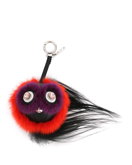 Fendi Monster Fur Charm w/Beak, Orange Multi
