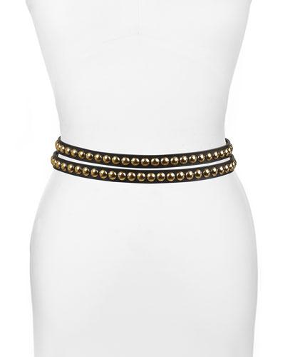 Studded Leather Wrap Belt  Black