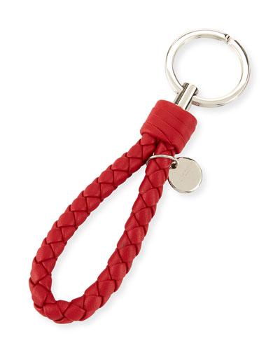 Braided Loop Key Ring, Red