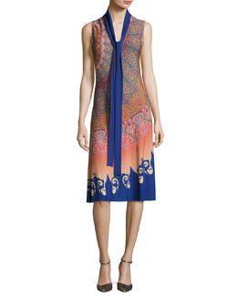 Marrakech Paisley Silk Sleeveless Dress with Scarf, Multicolor