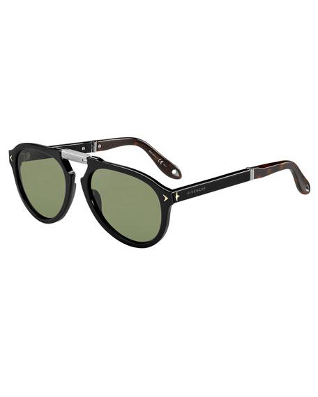 Foldable Aviator Sunglasses, Black