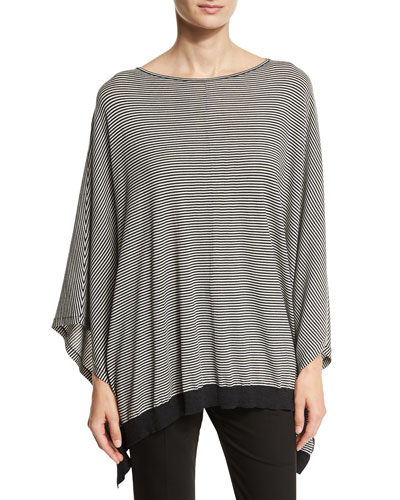 Striped Wool-Blend Poncho Top, Black Pattern