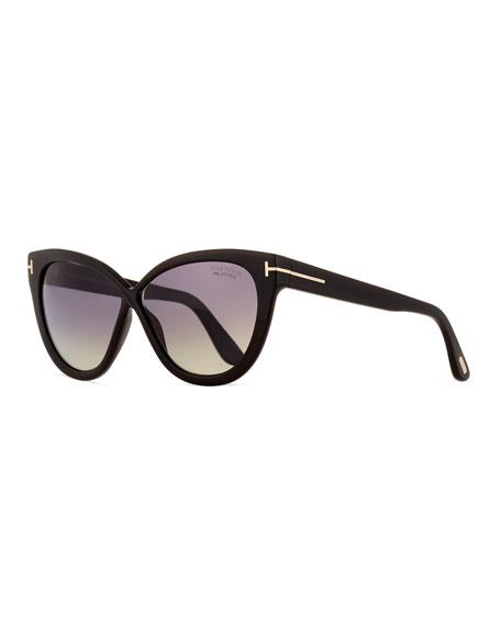 TOM FORD Arabella Polarized Cat-Eye Sunglasses, Black