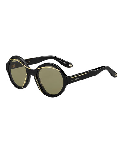 Round Acetate Sunglasses w/Metal Wires