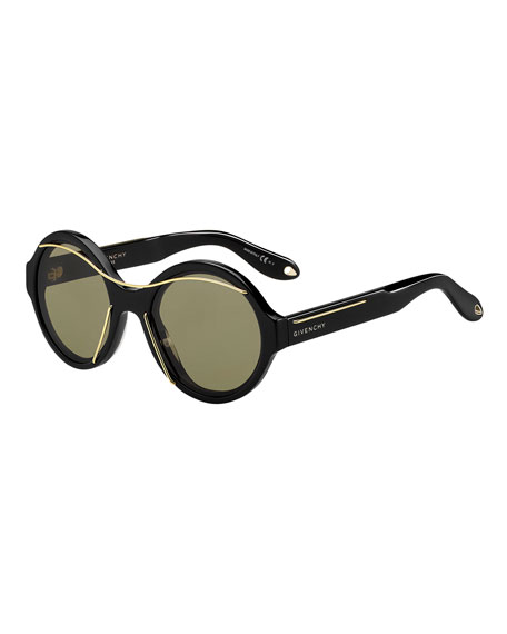 Round Acetate Sunglasses w/Metal Wires