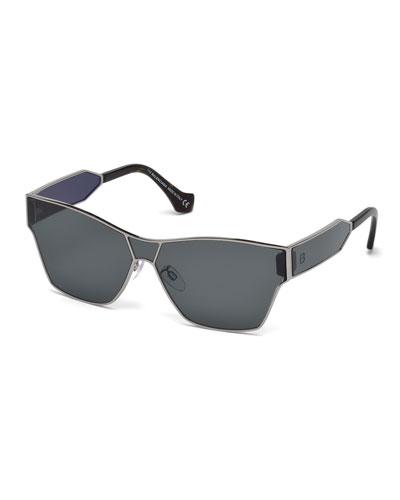Metal Monochromatic Flash Shield Sunglasses, Gold