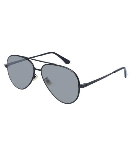 Saint Laurent Mirrored Metal Aviator Sunglasses, Black