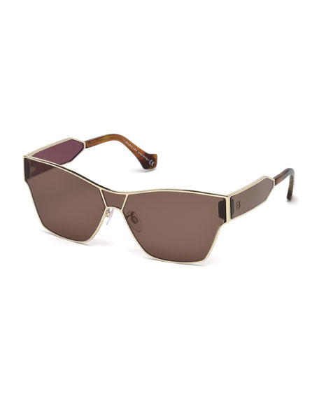 Metal Monochromatic Shield Sunglasses, Gold/Brown