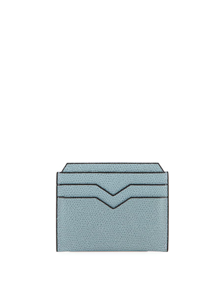 LEATHER CARD CASE, LIGHT GRAY