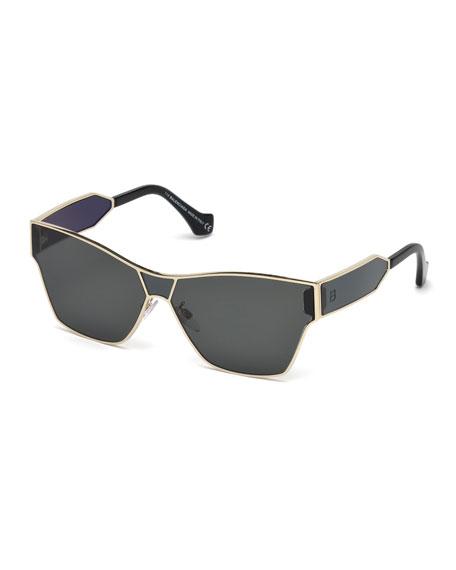 Metal Monochromatic Shield Sunglasses, Gold/Smoke