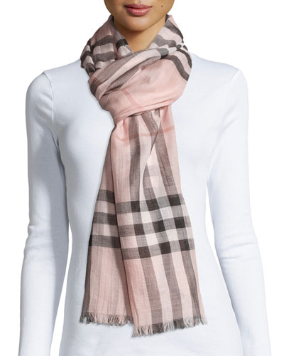 Gauze Giant Check Scarf, Rose
