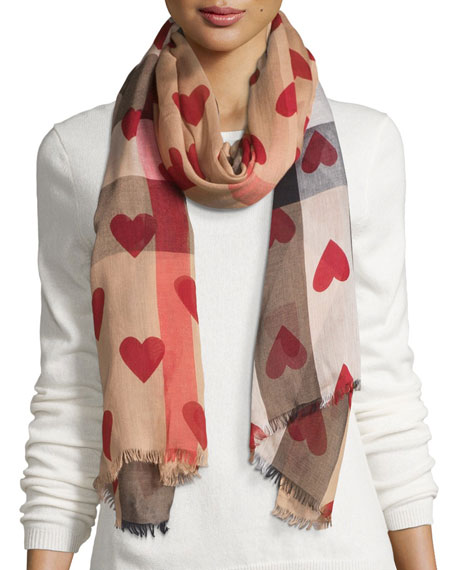 burberry heart scarf pink