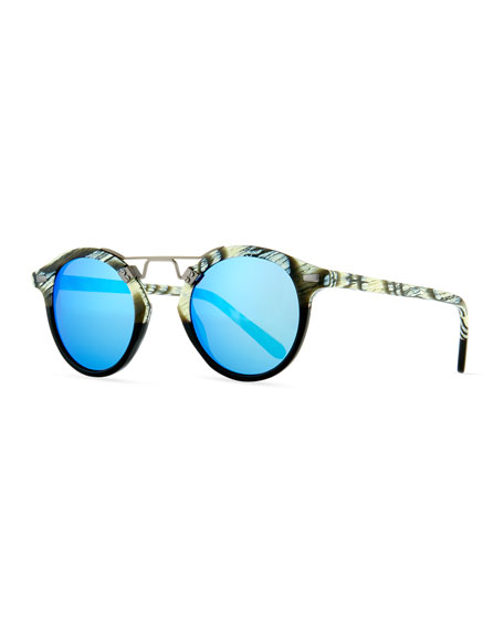 KREWE St. Louis Round Mirrored Sunglasses, Light Beige