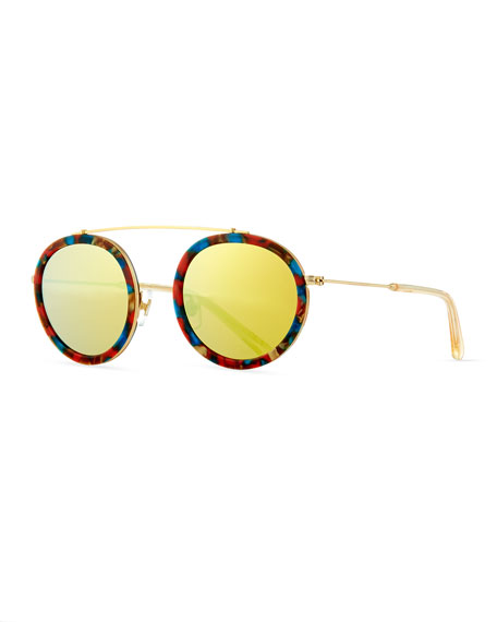 KREWE Conti Mirrored Round Aviator Sunglasses, Yellow