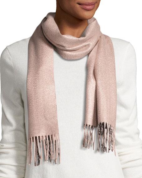 Metallic & Check Cashmere-Blend Scarf, Rose