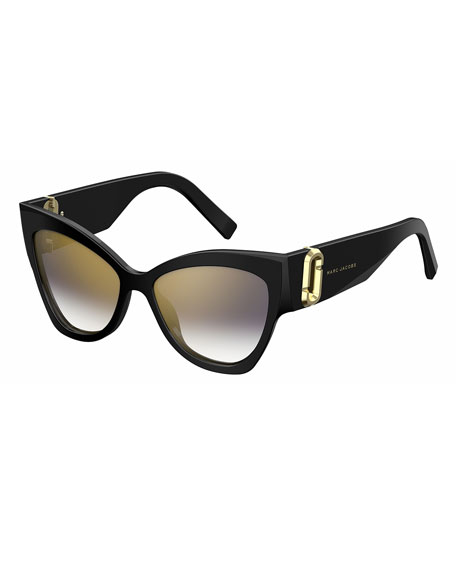 Marc Jacobs Chunky Mirrored Cat-Eye Sunglasses, Black