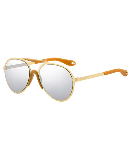 Givenchy Mirrored Aviator Sunglasses, Yellow