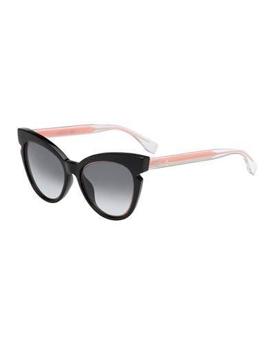 Two-Tone Cat-Eye Notched Optyl Sunglasses