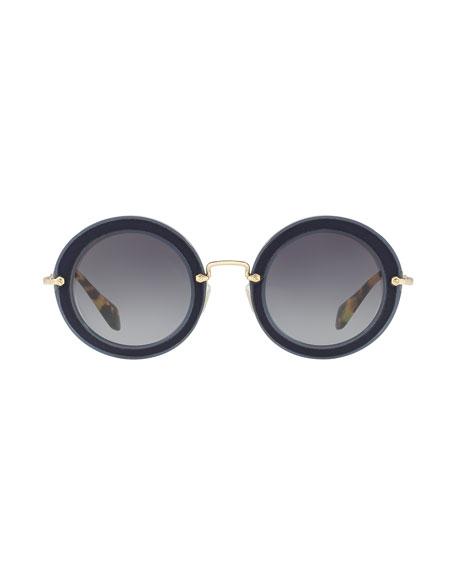 Noir Round Gradient Silk Satin Sunglasses, Blue