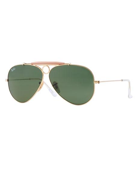 Contrast Brow-Bar Aviator Sunglasses