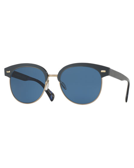 Shaelie Monochromatic Semi-Rimless Sunglasses, Navy