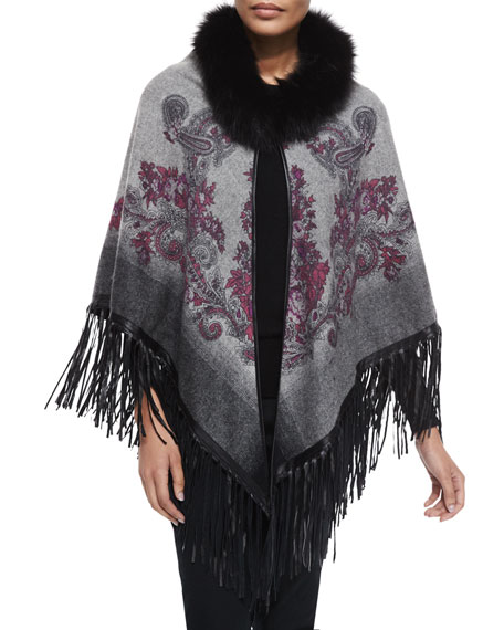 La Fiorentina Paisley Cape w/Fur Trim & Leather