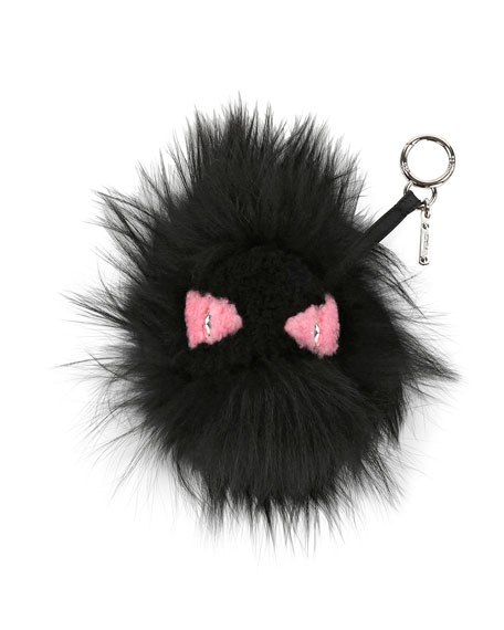 Monster Mixed-Fur Charm for Handbag, Black/Pink