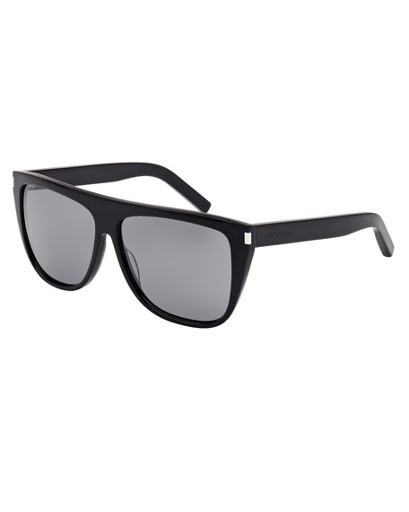 Saint Laurent Mirrored Flat-Top Sunglasses, Black
