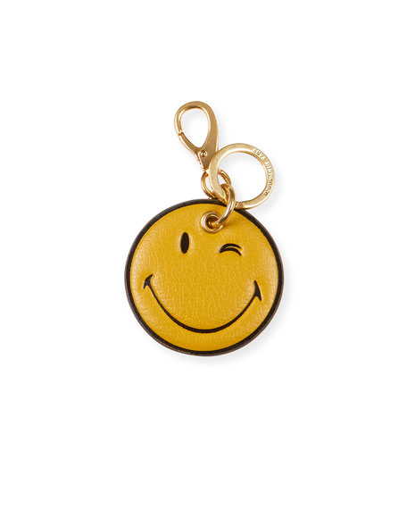 Anya Hindmarch Wink Leather Key Ring, Yellow