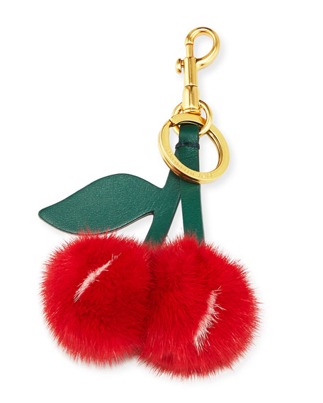 Mink Fur Cherry Key Chain/Bag Charm, Red