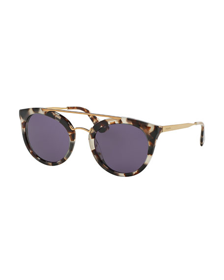 Prada Monochromatic Double-Bridge Cat-Eye Sunglasses, White Tortoise