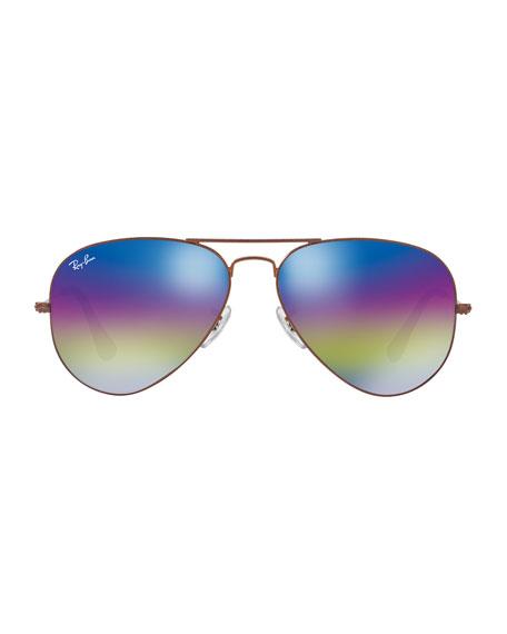 Large Mirrored Iridescent Aviator Sunglasses