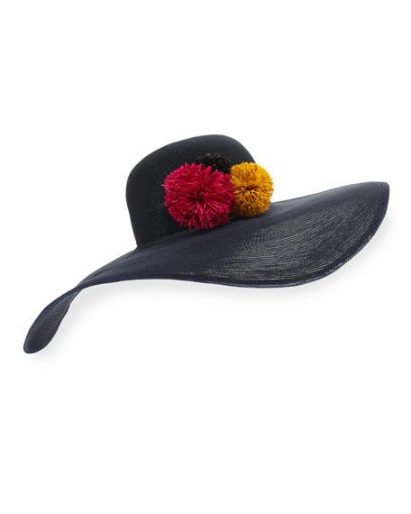 Bunny Asymmetric Floppy Sun Hat, Navy