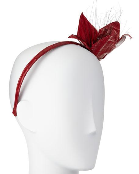 Asa Floral Eel-Skin Headband, Red